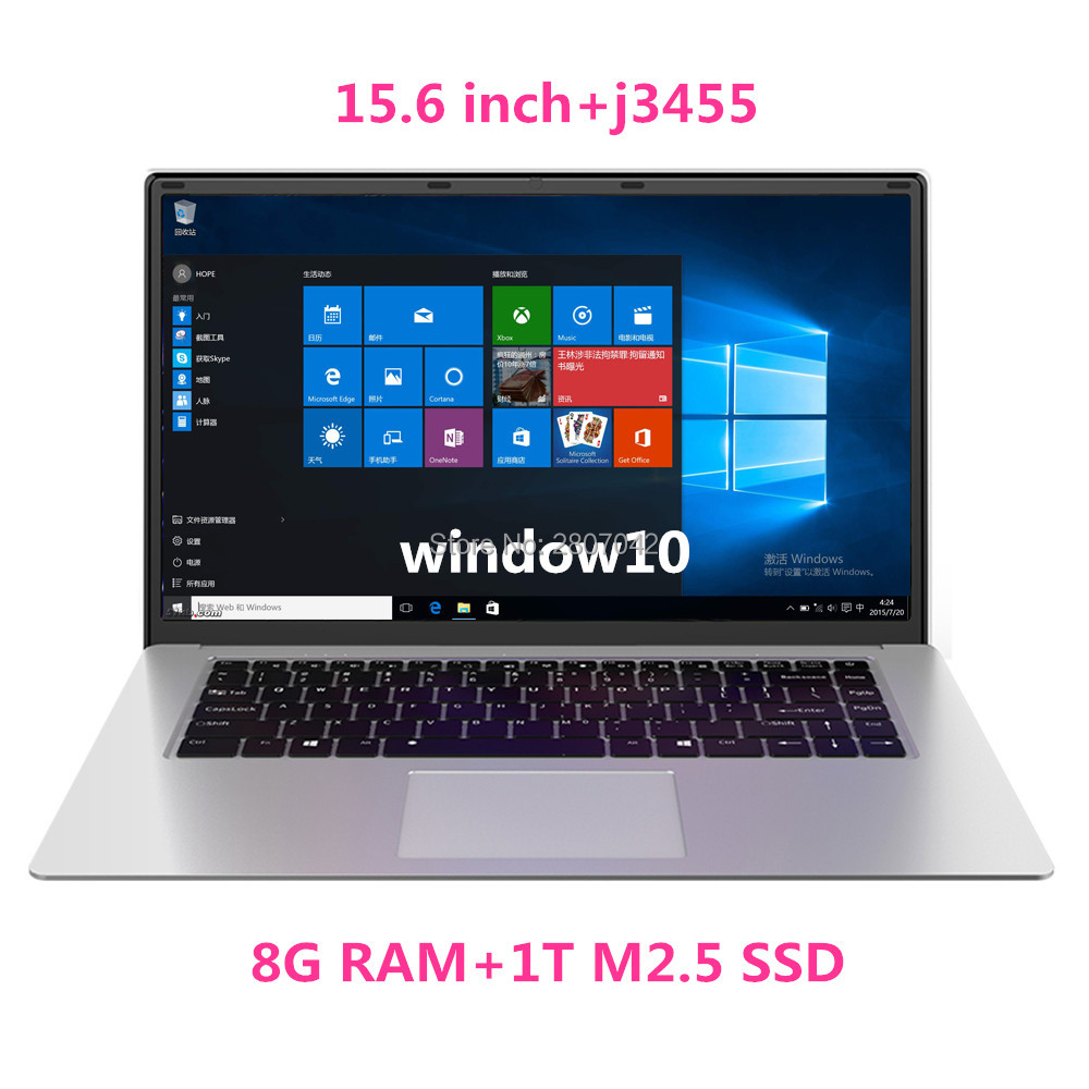 15 Inch Laptop With 8GB RAM 1TB SSD Notebook Computer Intel Quad Core Netbook Students Ultrabook With Win10 OS