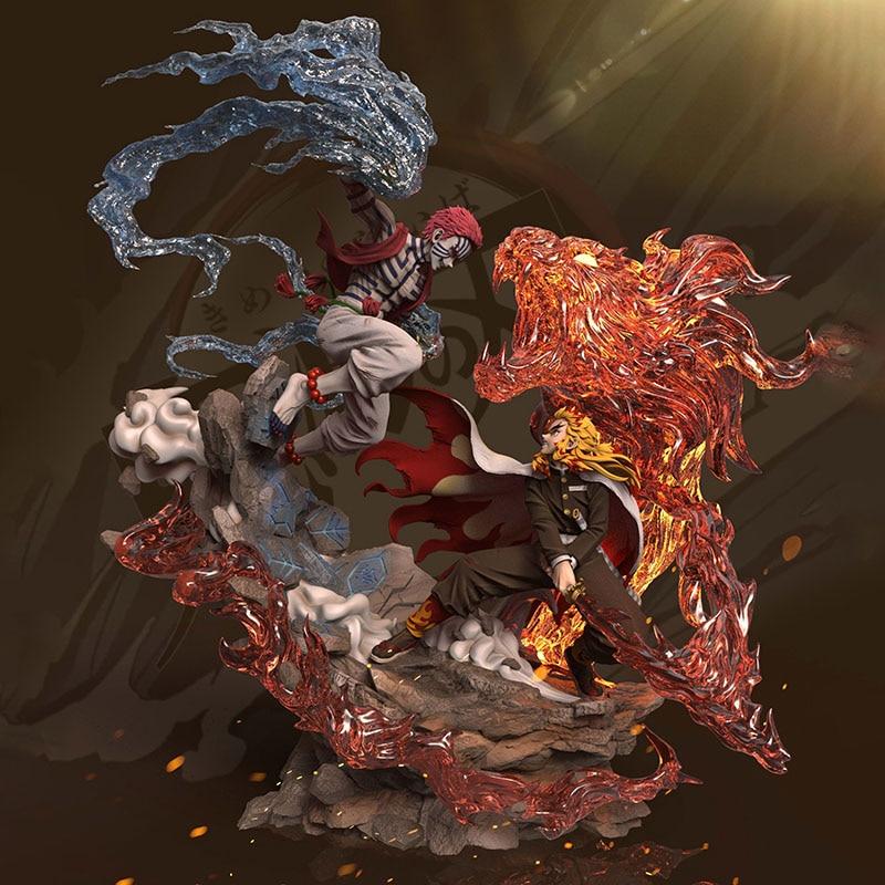Demon Slayer Blade Flame Pillar Purgatory Apricot Shou Lang vs Shang San Yi Wo Block GK Limited Statue Figure 1