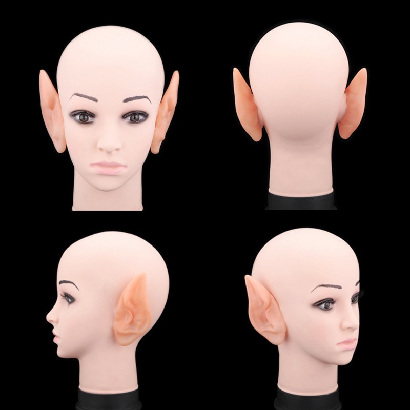 1 Pair Halloween PVC Fake Elf Ears fairy wings Pixie Halloween Mask Party Mask Scary Soft Pointed Prosthetic Ears (1)