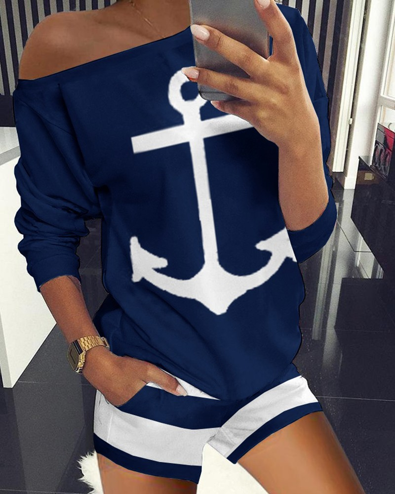 Boat Anchor Print Striped Top & Shorts Set  Casual Homewear 2 Piece Outfits For Women Loungewear