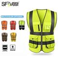Светоотражающий жилет безопасности SFVest с высокой видимостью, рабочая одежда, Светоотражающий Жилет с несколькими карманами, рабочая одежд...