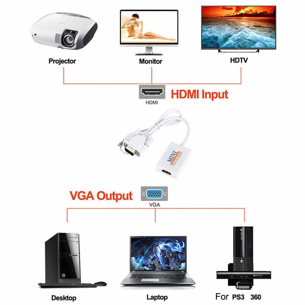 VGA вход HDMI выход 1080P HD + Аудио ТВ AV HD ТВ Видео кабель конвертер адаптер преобразователь из VGA в HDMI разъем кабель Новый