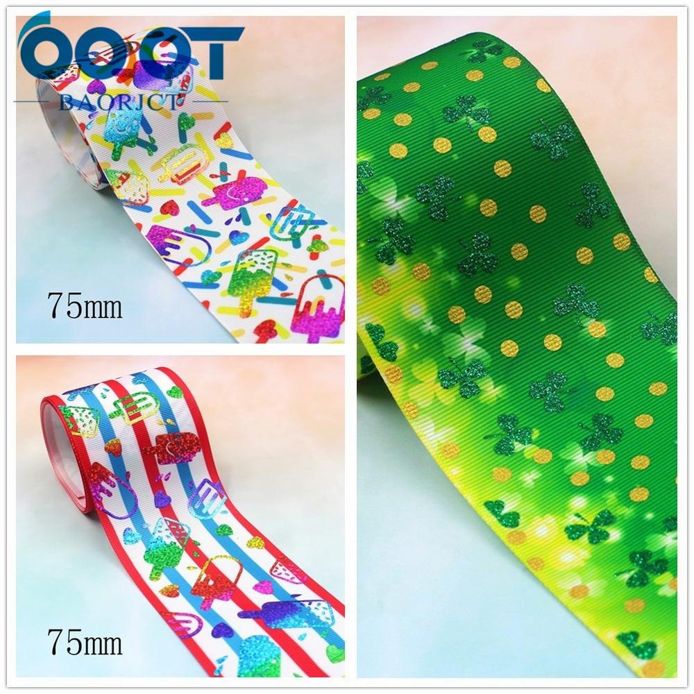 I-191128-2637,3'' 75mm,2yards Colorful Cartoon Hot Gold Hot Silver Ribbons Thermal Transfer Printed Grosgrain Wedding Decoration