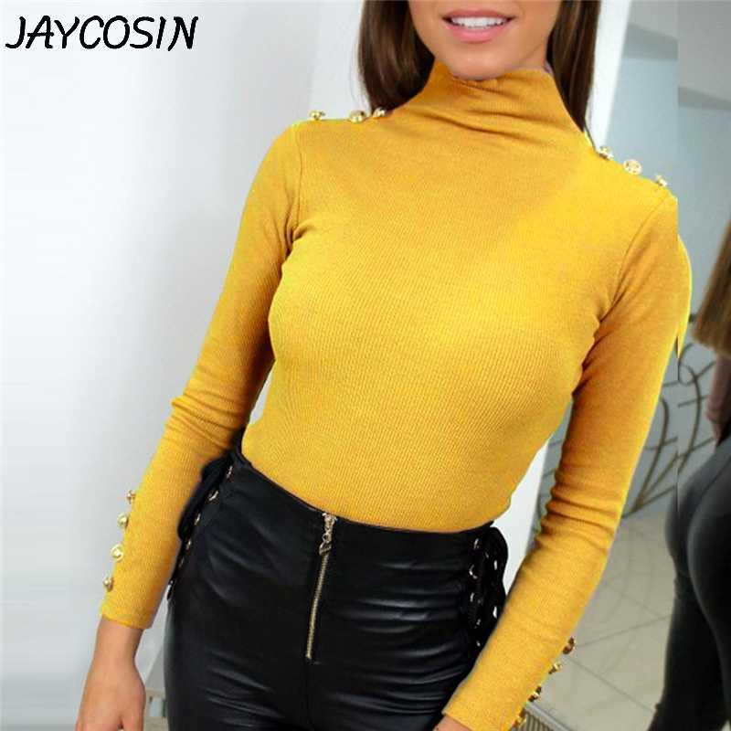 Suéteres de mujer JAYCOSIN 2019 Otoño Invierno moda botones de manga larga cuello alto sólido suéter elástico suéteres jy25
