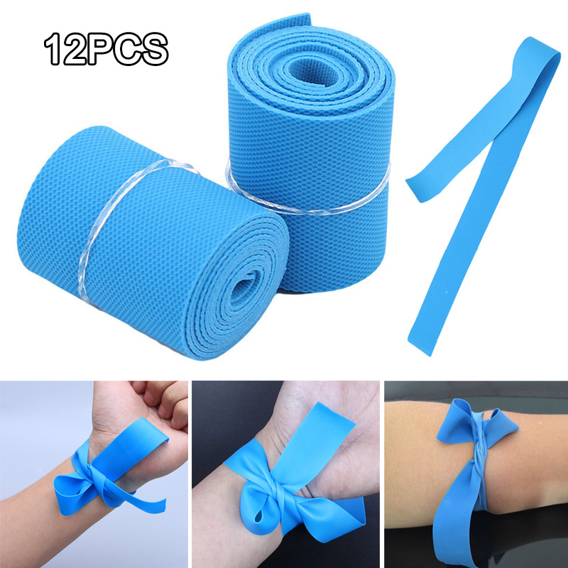 12PCS Disposable TPE Tourniquet Stretch Strap For Outdoor Hiking Camping Emergency Aid FDX99