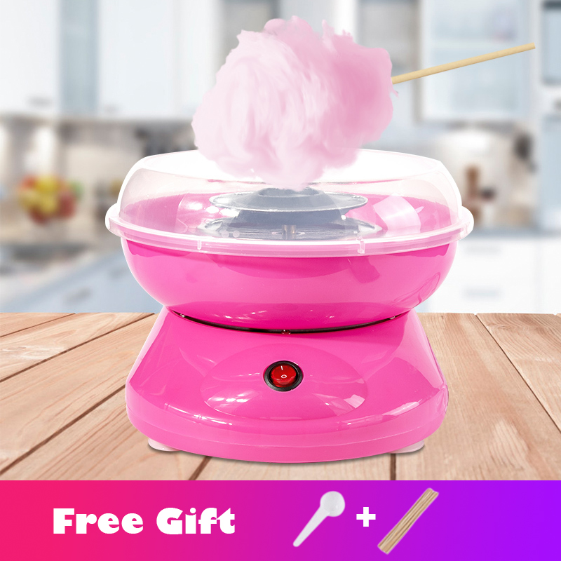 Blue Mini Cotton Candy Machine Maker,DIY Portable Electric Cotton Candy Machine With 2 Heating Tubes Non-stick Board Candy Floss Maker Machine for Kids Gift
