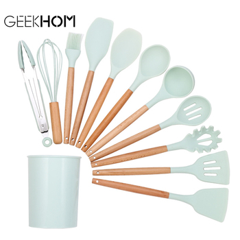 kitchen Silicone Cooking Utensil Set Non-stick Spatula Wooden Handle Heat Resistant Accessories Kitchen Tools