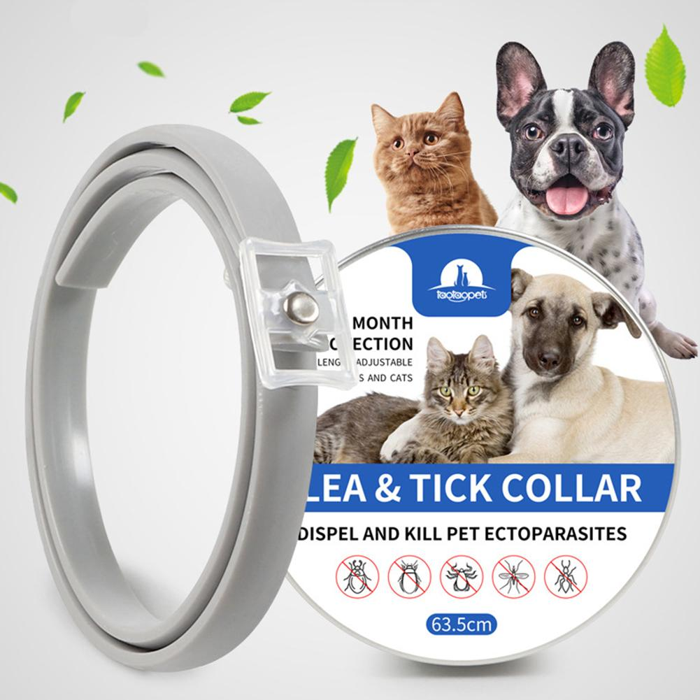 Silicone Cat Dog Collar Anti Flea Ticks Mosquitoes Outdoor Protective Adjustable Pet Collars 8 Months Long-term Protection