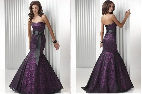 Strapless Long Mermaid Purple And Black Lace Robe De Soiree Evening Prom Gown With Belt 2018 Mother Of The Bride Dresses