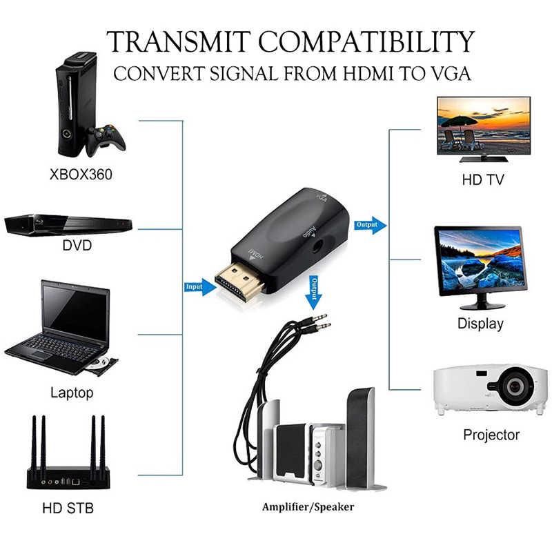 Hdmi Naar Vga Adapter Audio Kabels Converter Man-vrouw Hd 1080P Voor Pc Laptop Tv Box Projector Kabel