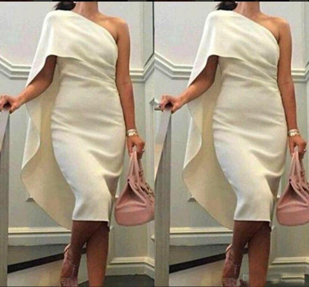 Formal Prom Gowns Cheap Robe De Soiree One Shoulder Sheath   Cocktail     Dresses   with Cape Tea Length Party   Dress   Arabic Plus Size