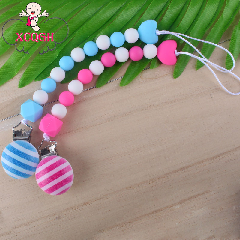 XCQGH Silicone Baby Pacifier Chain DIY Silicone Beads Anti lost Chain Baby Pacifier Chain