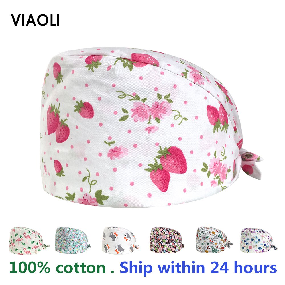 Cotton Surgical Cap Unisex Hospital Doctor Nurse Medical Cap Veterinary Clinic Working Cap Practice Nursing Scrubs Hat For Women