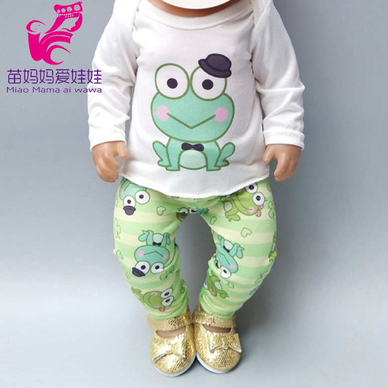 Doll Clothes For 43cm Reborn Baby Doll Boy Clothes Green Frog For 40cm 38cm Baby Doll Clothes Set