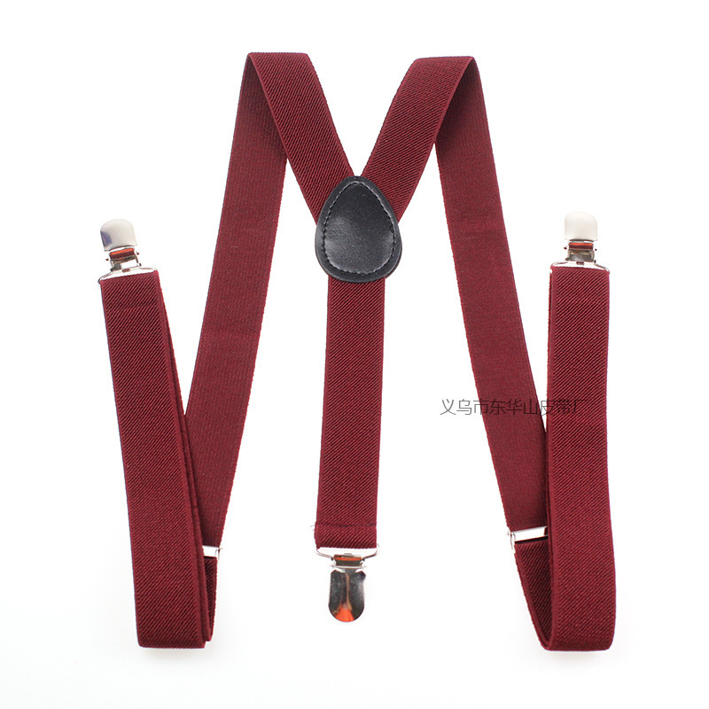 Suspenders Straps Solid Color For Both Men And Women 3 Clip Adult Three Layered Two-elastic
