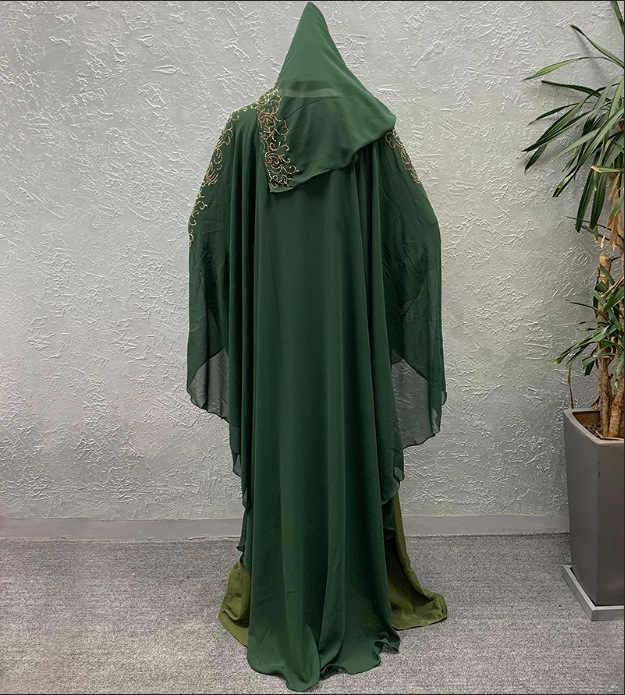플러스 사이즈 여성을위한 아프리카 드레스 대시 키 다이아몬드 비즈 아프리카 의류 Abaya 두바이 가운 저녁 긴 이슬람 드레스 후드 케이프