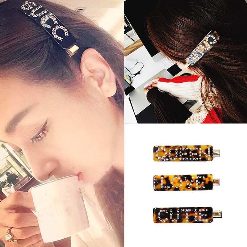 2020 в Корейском стиле Акриловые зажимы для волос для Для женщин по индивидуальному заказу письмо заколки для волос расчески для волос шпильк...