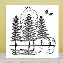 ZhuoAng Reflection Tree Clear Stamps for DIY Scrapbooking Photo Album Card Making DIY Decoration Supply zhuoang reflection tree stamp for diy scrapbooking photo album decorative card making clear stamps supplies