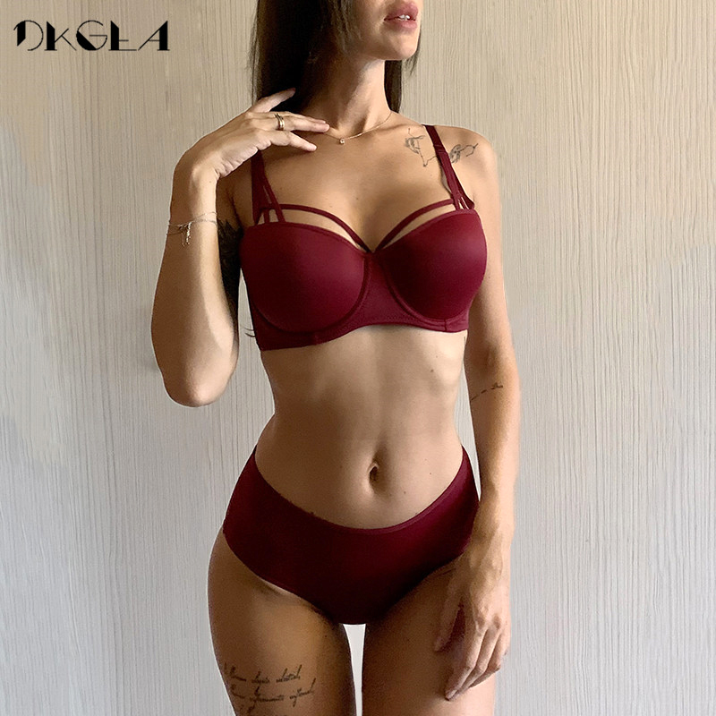 New White Bras Sexy Underwear Set Cotton Thick Brassiere Push Up Bra Sets Deep V Gather Black Women Lingerie Set Bandage Style