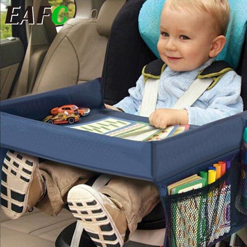 Bandeja para asiento de coche para bebé, cochecito de juguete para niños, soporte para comida y agua, escritorio impermeable, mesa portátil para coche, almacenamiento de mesa para niños
