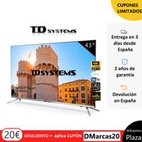 Televisions Smart TV 43 Inch TD Systems K43DLJ10US. UHD 4K HDR, DVB-T2/C/S2, HbbTV [Free from Spain 2 year warranty]