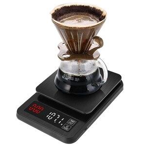 Image 2 - Balança eletrônica de precisão, para cozinha, 5kg/0.1g, 10kg/1g, lcd, digital, balança de café com gotejamento balança doméstica com temporizador de peso