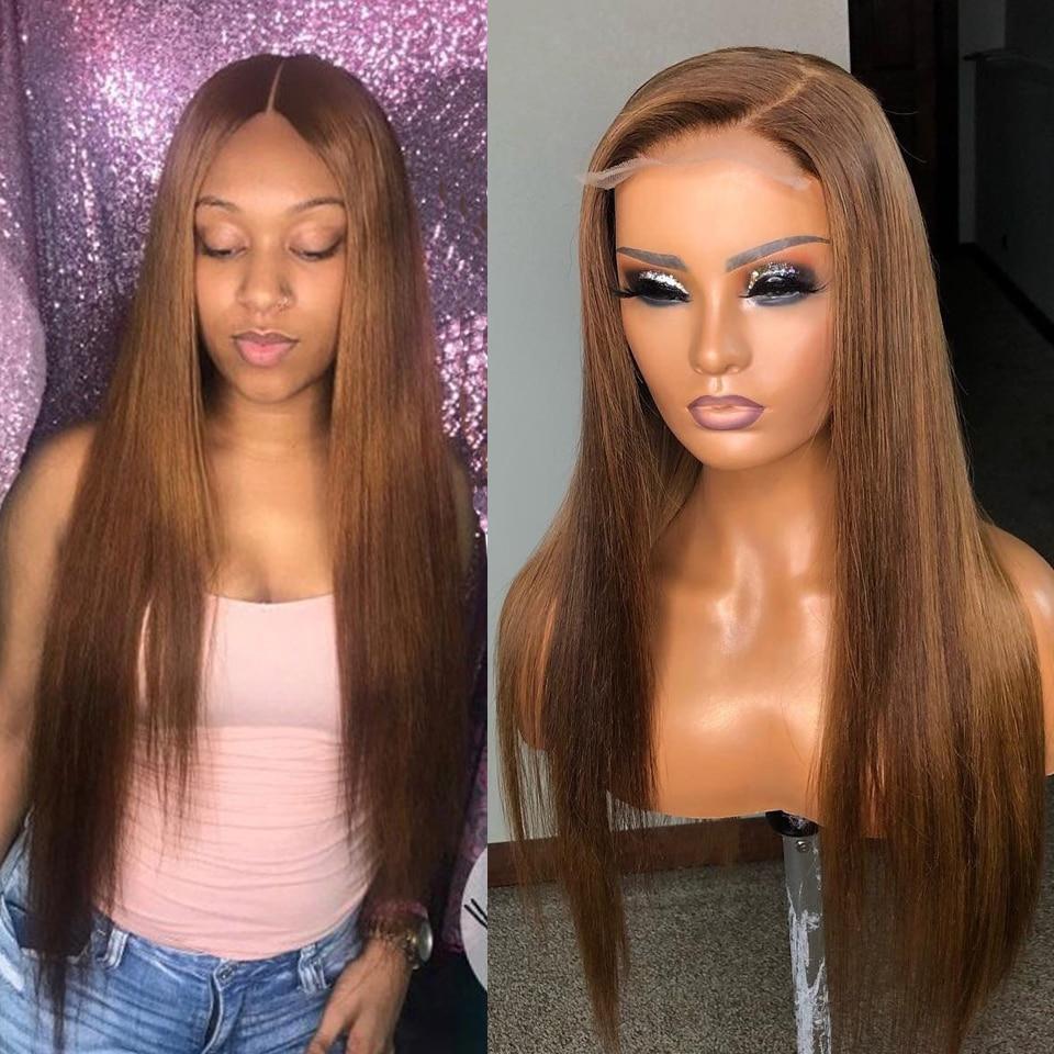 Прямые парики из человеческих волос коричневого цвета, плотность 180%, бразильские волосы Remy, парики для женщин 13x4, парик на сетке спереди, отб...