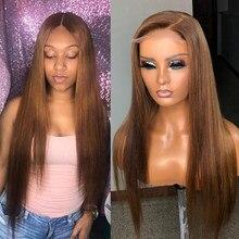 Perruque Lace Front Wig brésilienne lisse, cheveux Remy, brun, 13x4, nœuds décolorés, densité de 180%, pour femmes
