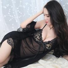New Lace Sexy Pajama Adult Lingerie See-through Women Gauze Halter Dress