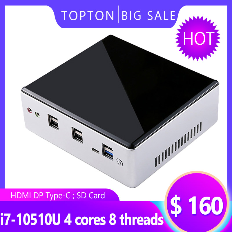 New Release 10th Gen Mini PC Intel I7-10510U I5-8250U 4*Core 2*DDR4 M.2 NVMe NUC Computer Windows 10 Linux WiFi USB-C DP HDMI PC