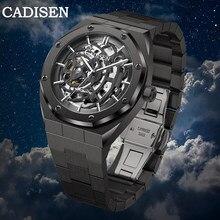 CADISEN C8183 Neue Luxus herren Uhr Mechanische Automatische Sapphire 100M Wasserdicht Japanischen Bewegung Schädel Schwarz Legierung Uhr Uhr