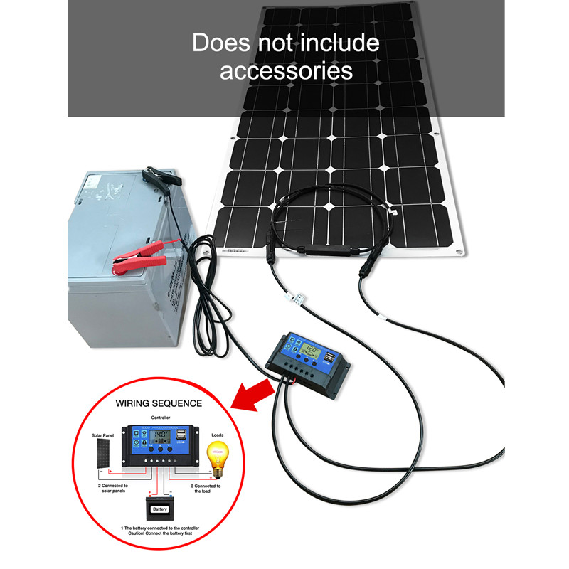 Dokio 12V 100W Flexible Monocrystalline Solar Panel For Car/Boat/ Home Solar Battery Can Charge 12V Waterproof Solar Panel China 2