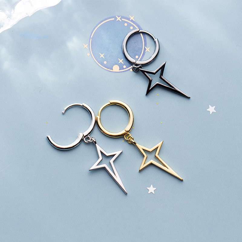 Simple Stars Cross Earrings S925 Silver Hollow Out Geometry Female Temperament All-Match Korean Style Jewelry Ears Accessories