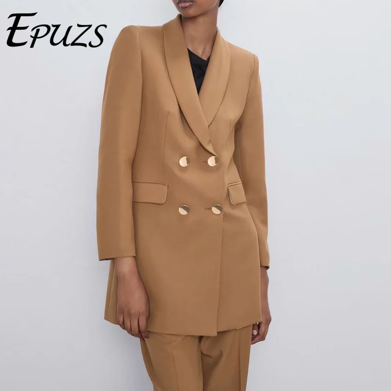 Autumn Women Blazers And Jackets Women Double Breasted Office Blazer Coat Casual Women Suits Korean Long Coat 2019