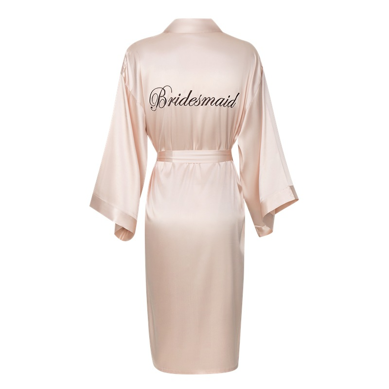 Lady Bath Gown Home Wear Exquisite Embroidery Women Kimono Gown Casual Soft Satin Bride Bridesmaid Wedding Robe Sleepwear