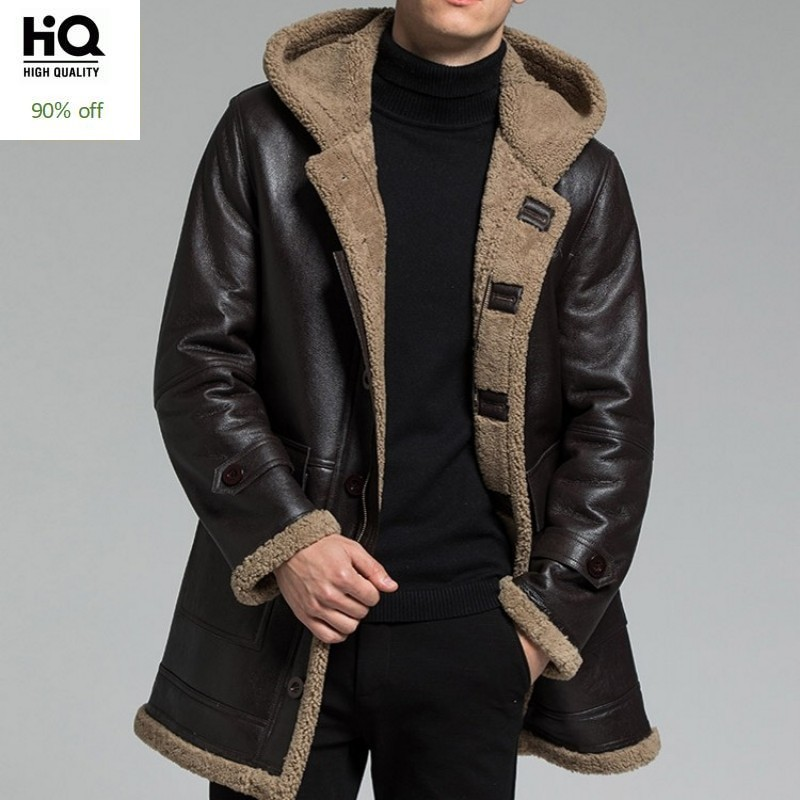 Winter Mens Real Fur Genuine Leather Sheep Shearling Jackets Thick Warm Fur Liner Single Breasted Mid Long Male Hooded Overcoats