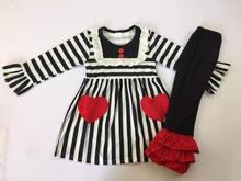 Autumn Baby Valentines Day Set Love Pockets Skinny Pleated Trousers Lace Kids Set Black and White Stripe Set Classic Hot sale