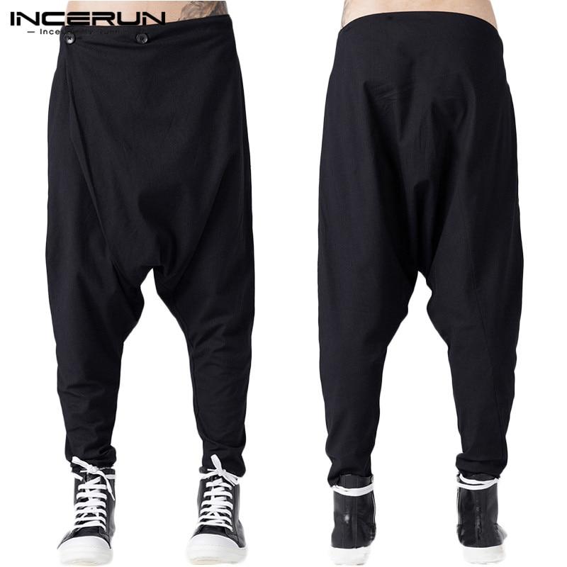 INCERUN Men Fashion Zipper Trousers Gothic Casual Loose Jogger Bottoms Men Streetwear Pants Black Harem Pants Men Punk Trousers