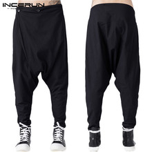 INCERUN Men Fashion Zipper Trousers Gothic Casual Loose Jogger Bottoms Men Streetwear Pants Black Harem Pants Men Punk Trousers