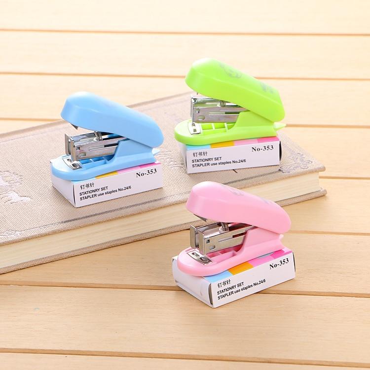 Mini Small Stapler Set. Student Stationery Gift Office Portable Lovely Cartoon Student 12 Stapler
