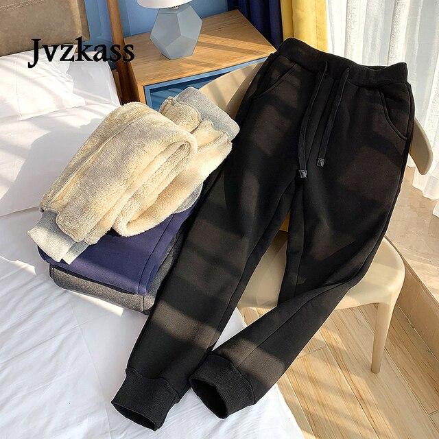 Jvzkass pantalones de chándal de talla grande para mujer, pantalón informal de lana de cordero, con relleno de terciopelo, Z54, para invierno, 2020