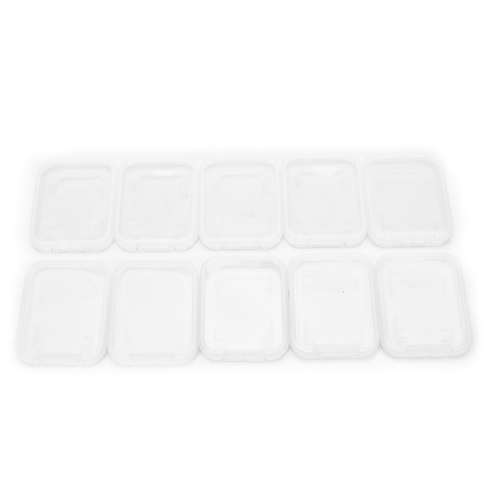 10Pcs For SD SDHC Memory Card Case Holder Protector Transparent Plastic Box Storage 6
