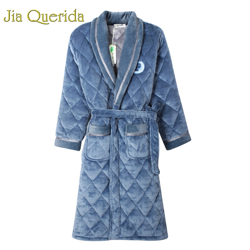 Mens Bath Robe Velvet+Cotton Padded Men Thick Plus Size Winter Kimono Homme Peignoir Bathrobe Warm Robes Pajamas Male's Bathrobe