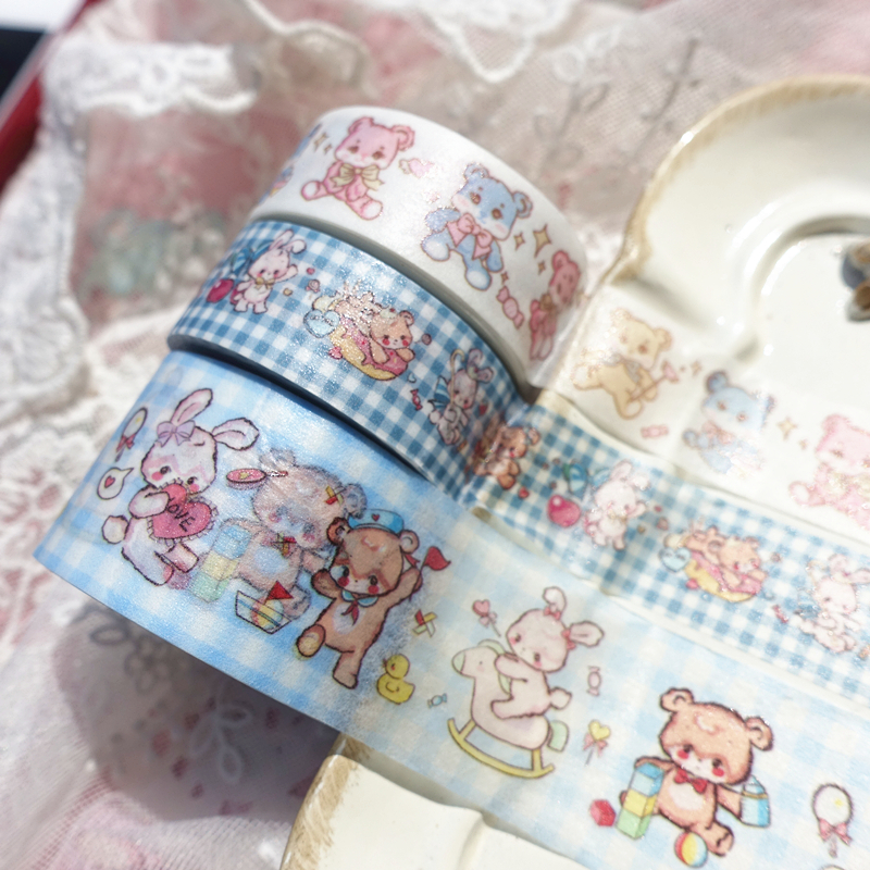 Kawaii Toy Cartoon Animal Tape Shiny Bear Dessert Cherry Funny Rabbit Merry-go-round Washi Tape DIY Scrapbookin Masking Tape