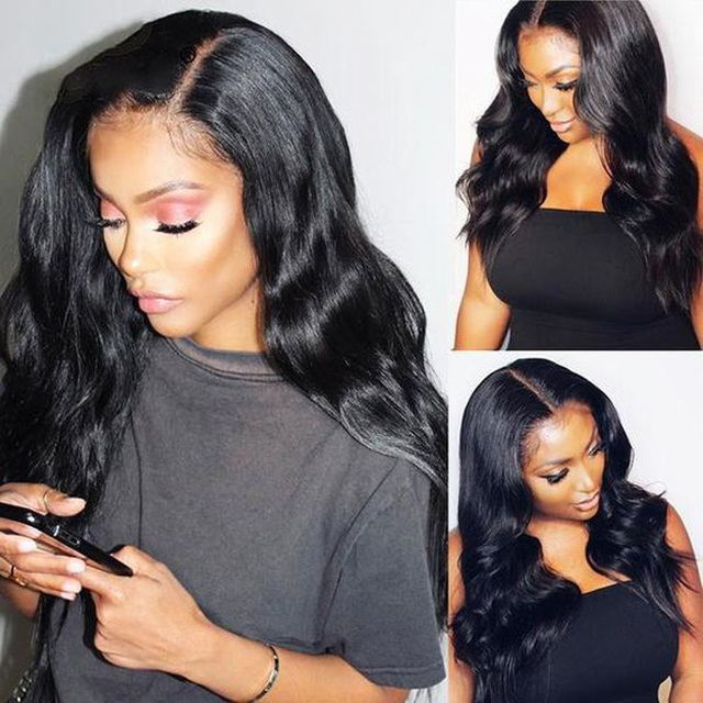 $ US $32.45 High Temperature Fiber 13*4 Long Body Wave Hair Wigs Synthetic Lace Front Wig Natural color For Women Side Part Free ship
