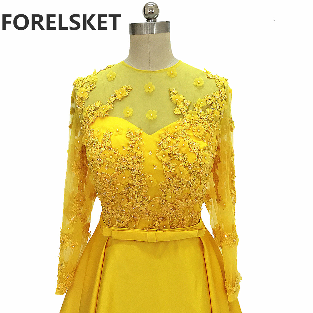 Lace Appliques A Line Yellow Satin Prom Dresses 2020 Long Sleeves Ceremony Dresses Beading 3d Flowers Formal Evening Party Gowns
