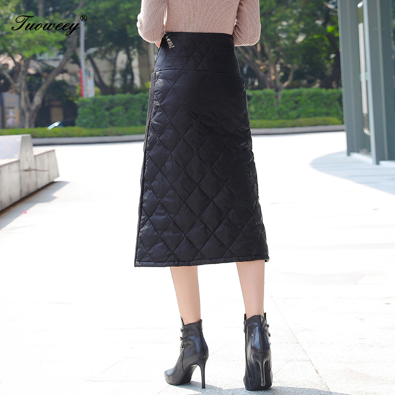 Image 4 - 4XL hot Down Cotton Skirt Women Winter Plus Size calf length 