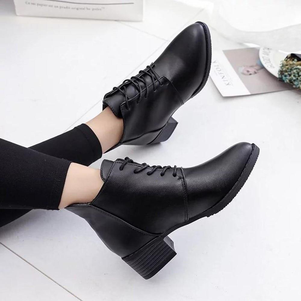 2019 Women Fashion Shoes Vintage Boots Thick Short Boots Women's Leather Ankle Boots Female Winter Warm Lace-up Shoes Botas