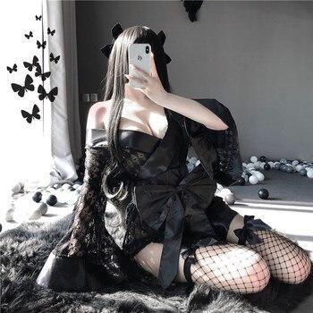 Sexy Lencería mujer bordado de encaje Lencería erótica muñeca trajes Sexy bragas Anime vaca Cosplay colegiala disfraz