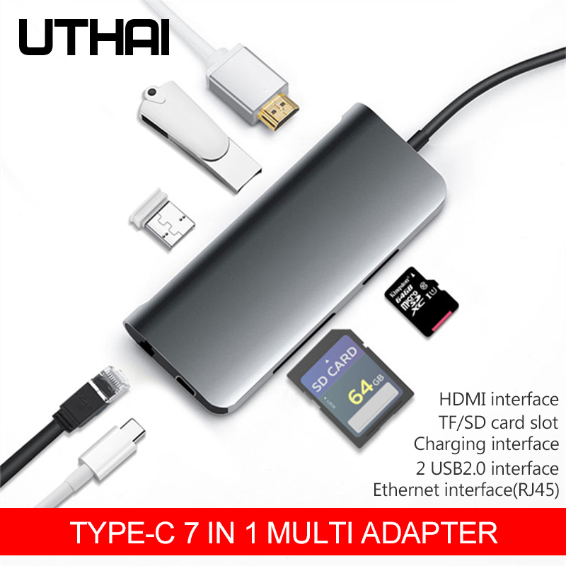 UTHAI C44 Type-C USB3.0 Multi Adapter HUB USB-C To HDMI 4K SD TF Card Reader RJ45 Ethernet Converter For MacBook Pd Charging